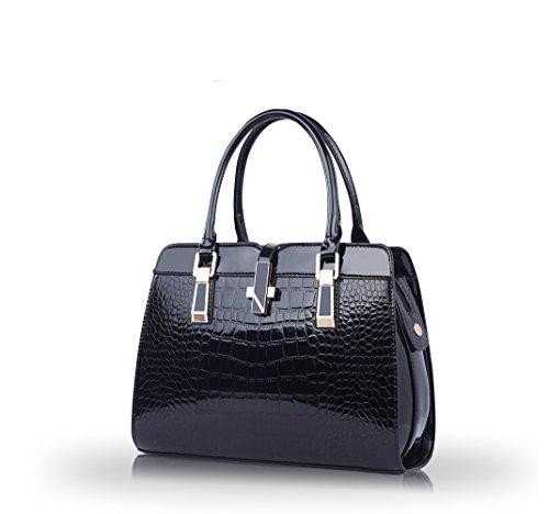 Nicole&Doris Ladies Handbags 2016 nuova spalla del computer portatile della moda guscio in vernice Messenger Bag per le donne(Black)
