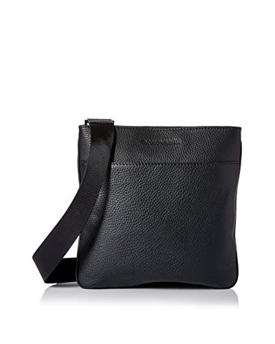 Emporio Armani Flat Grained Leather Messenger, Black