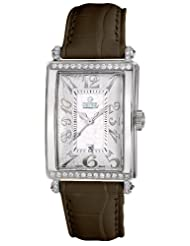 On Sale Gevril Women's 7249NT.5B White Mother-of-Pearl Genuine Alligator Strap Watch Deals