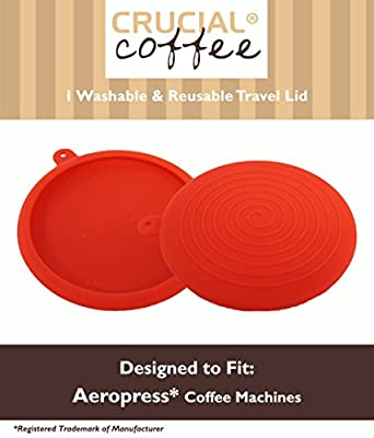 Travel Cap Lid / Brewing Grip Fits Aerobie Aeropress Coffee & Espresso Maker, Red Silicone Designed & Engineered by Crucial Coffee - Travel smart and conveniently transport coffee beans, filters & more in your Aeropress plunger with our travel cap