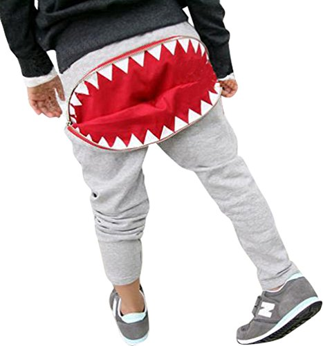 Boys Girls Cotton Shark with Zipper Pants Trousers