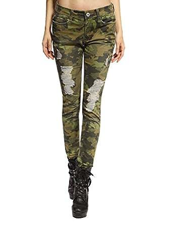 Camouflage Camo Ripped Skinny Jeans Pencil Denim Pants 10 | Amazon.com