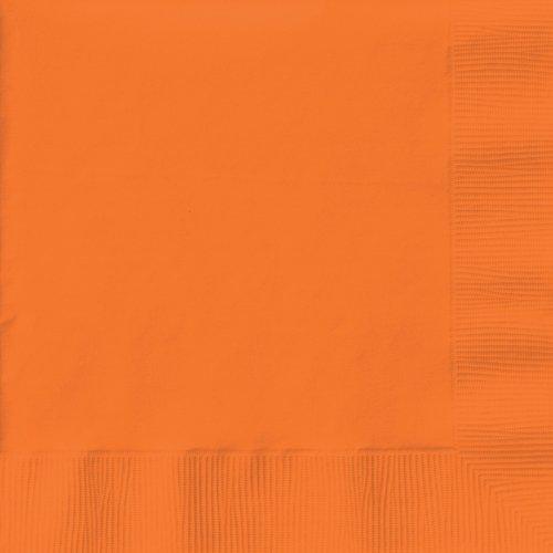 Creative Converting 233432 Sunkissed Orange- Orange Lunch Napkins - 1
