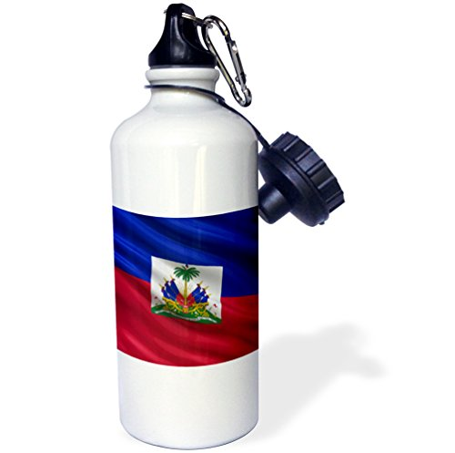 3dRose wb_178067_1 Flag of Haiti Waving in The Wind Sports Water Bottle, 21 oz, White (Haiti Pictures compare prices)