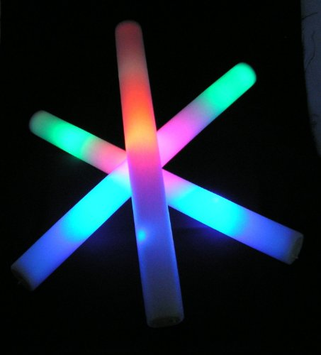 "18 pack of 18"" Multi Color Foam Baton LED Light Sticks - Multicolor Color Changing 3 model flashing - 1"