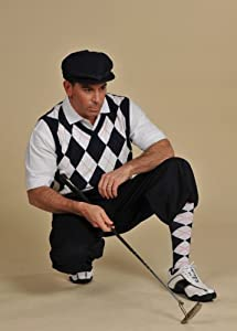 Mens Golf Outfit - Solid Navy Stewart Knickers, White Navy Red Overstitch Sweater,... by Kings Cross Knickers