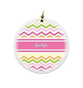 Buy rikki knight jackie pink chevron name design round - Buy christmas decorations online india ...