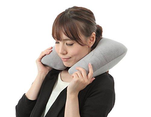 携帯型 折り畳み トラベルエアー ネックピロー 洗えるカバー 持ち運びに便利...
