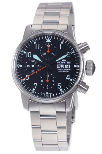Fortis Men's 597.11.11M Flieger Automatic Chronograph Black Dial Watch