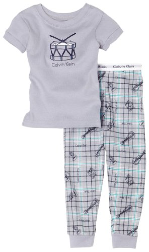 Calvin Klein Baby-boys Infant Drum Pajama Set, Gray, 24 Months