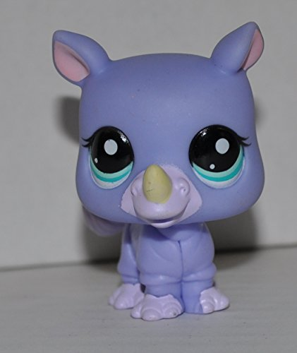 Rhino Rhinoceros #1908 (Purple, Aqua Blue Eyes) - Littlest Pet Shop (Retired) Collector Toy - LPS Collectible Replacement Single Figure - Loose (OOP Out of Package & Print)