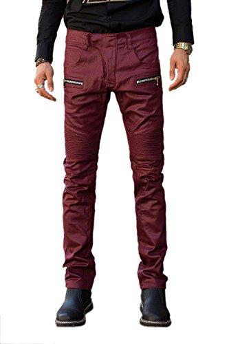 COUSIN CANAL Jeans Uomo Denim Skinny dritto Pantaloni Biker wine red 40
