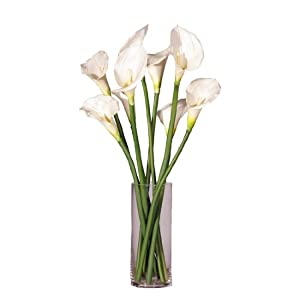 """24"""" Artificial Potted White Calla Lily Silk Flower Arrangement"""