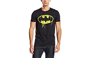 DC COMICS Camiseta Manga Corta Batman Dripping Logo (Negro)
