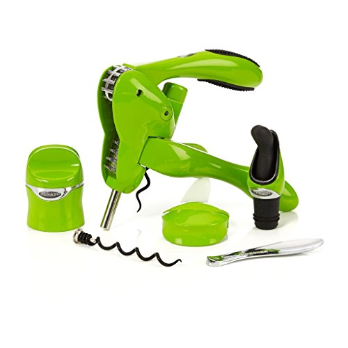 Metrokane Rabbit 6-Piece Wine Tool Set - Includes Rabbit Corkscrew, Foil Cutter, Wine & Champagne Sealer, Wine Pourer with Stopper, Wax Remover & Extra Spiral  - Limited Edition Green for 2015 Father'
