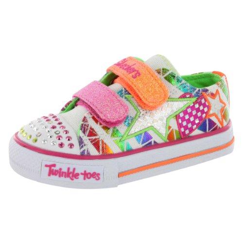 Skechers Kids 10336N Twinkle Toes Classy Sassy Lighted Sneaker,White/Multi,8 M Us Toddler