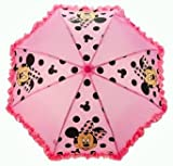Official Disney Minnie Mouse Pink Black Frilled Girls Rain Kids Umbrella Brolly Back To School