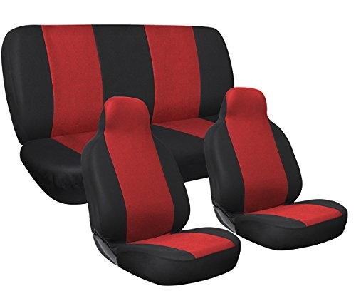 OxGord Car Seat Cover Full Set Flat Cloth Mesh | Red - Airbag Compatible - Universal Fit for Car, Truck, SUVs, or Van - 2016 Newly Designed (Dodge Promaster Seat Covers compare prices)