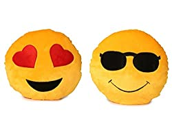 Deals India Heart Eyes Smiley and cool dude smiley Cushion - 35 cm(smiley1&2)Set of 2