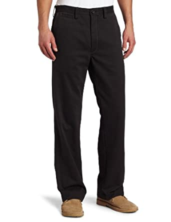 Haggar Men's Life Khaki Relaxed Straight Fit Flat Front Chino Pant,Dark Grey,32x30