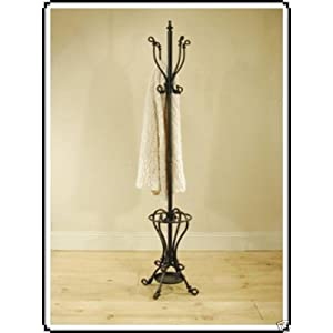 Heavy metal coat hat & umbrella stand black wrought iron