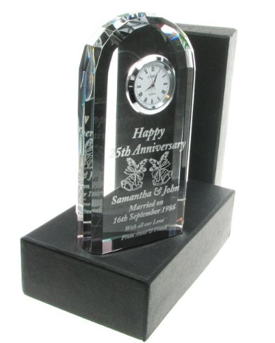 50th Wedding Anniversary Gift, Engraved 50th Wedding Anniversary Crystal Clock, Golden Wedding Anniversary Gifts