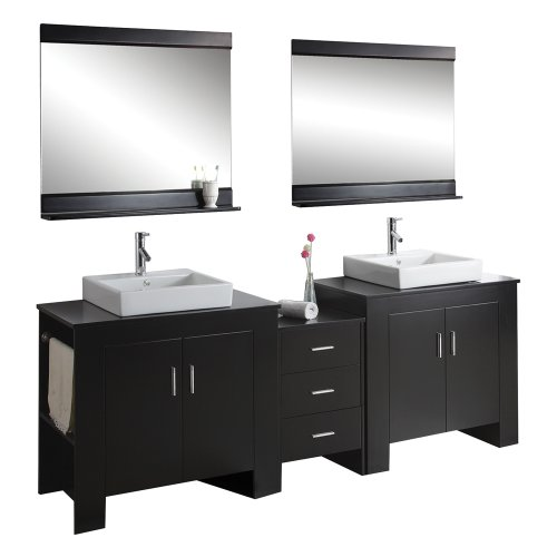 basins chrome faucets and mirrors with shelf espresso finish