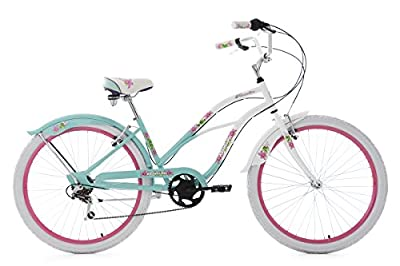 "Ladies' Beach Cruiser 26"" Paradiso White-Blue 6 Gears KS Cycling"
