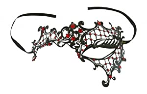 Kayso Inc Signature Phantom of the Opera Venetian Laser Cut Masquerade Mask, Reverse Black w/ Red Stones