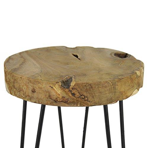 teakholz beistelltisch massiv sitzhocker stool metall teak tisch holz blumenhocker unikat. Black Bedroom Furniture Sets. Home Design Ideas