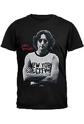 John Lennon-Mens New York Photo T-shirt Black