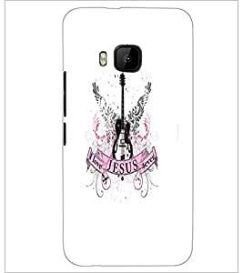 PrintDhaba Guitar D-5533 Back Case Cover for HTC ONE M9 (Multi-Coloured)