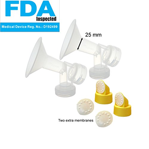 25 Mm One-Piece Breastshield W/ Valve And Membrane For Medela Breast Pumps; Set Of 2; Made By Maymom front-892265