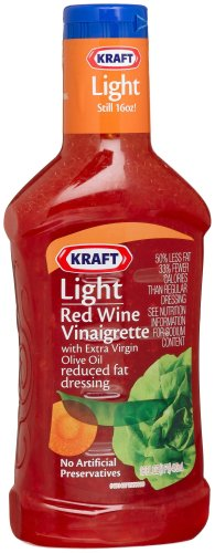 Kraft Light Red Wine Vinaigrette with Extra Virgin Olive Oil Reduced Fat Dressing, 16-Ounce Plastic Bottles (Pack of 6)
