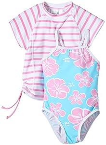 Snapper Rock  Hibiscus UV-Protective girls Swim Suit + Rashie Set - White/Blue/Pink, 6 Years