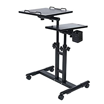 Redscorpion Adjustable Height Rolling Mobile Laptop Desk Table Computer Desk Cart Over Sofa Bed Table(black)