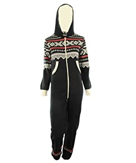 GG Womens Lusia Aztec Print Unisex Ladies Jumpsuit Onesie - Navy ML 8-10