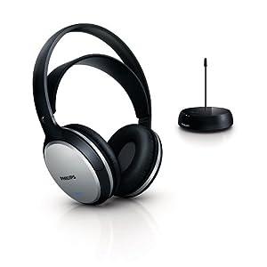 Philips SHC5100/10 Kabelloser HiFi-Kopfhörer (32 mm Lautsprechertreiber, Selbstregulierender Bügel) schwarz/silber