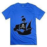 ZZY Funny Pirate Ship Wall Art Sticker Tshirt – Men's Tee RoyalBlue Size S