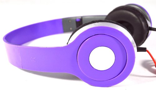 Flotera Adjustable Circumaural Over Ear Hifi Stereo Stero Earphone Headphone For Pc Mp3 Mp4 Ipod - Black, White, Black, Blue, Purple (Purple)