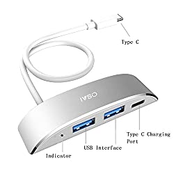 USB 3.1 Type C Hub, IVSO USB 3.1 Type-C to 2-Ports USB3.0 Hub Adapter with USB-C Charging Port, the USB-C Charging Port ONLY Works for Apple New MacBook (Silver I)