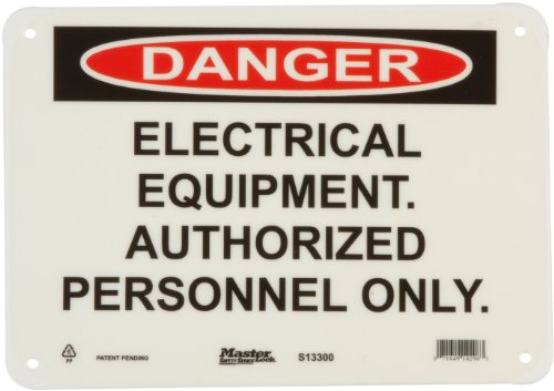"Master Lock S13300 10"" Width x 7"" Height Polypropylene, Black and Red on White Safety Sign, Header ""Danger"", Legend ""Electrical Equipment. Authorized Personnel Only."""