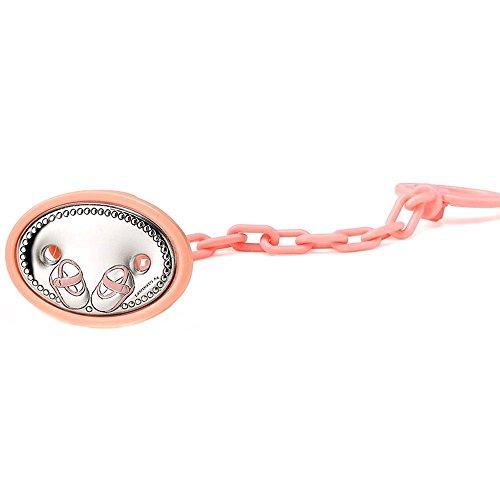Clip ciuccio bambino rotolato 51 millimetri argento stivaletti rosa legge. [AA7539GR] - personalizzabile - REGISTRAZIONE INCLUSO NEL PREZZO
