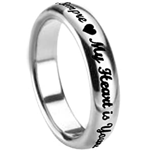 My Hearth Is Yours Forever Italian & English Translation Posey Stainless Steel Ring size 6by Forgiven Jewelry