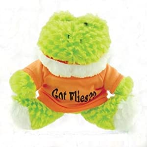 """Small Stuffed Soft And Cuddly Cute Plush Frog Toy In Shirt With """"Got Flies"""" Saying, 6"""" Sitting - 9"""" Standing"""