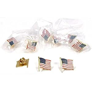 12 American Flag Waving Lapel Pins U.S.A. United States