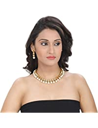 Aradhya Traditional Designer Square Kundan Necklace Set With Earrings For Women And Girls