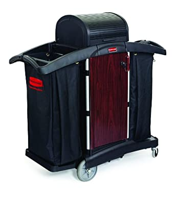 Rubbermaid Commercial FG9T9500BLA Housekeeping Service Cart, Black