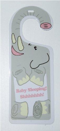 Elephant Baby Sleeping Shhhhhhh Tin Door Knob Hanger for Nursery, Bedroom, Gift - 1
