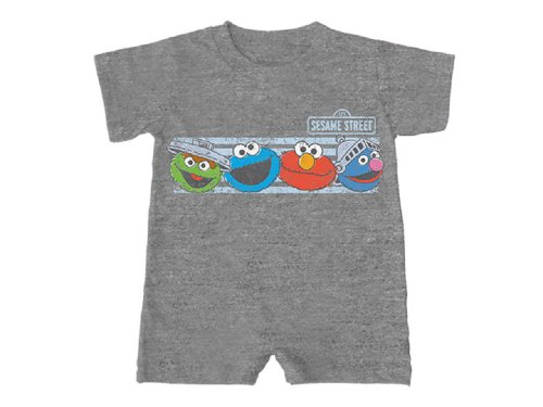 Sesame Street Face the Street Character Faces Baby Romper - Grey